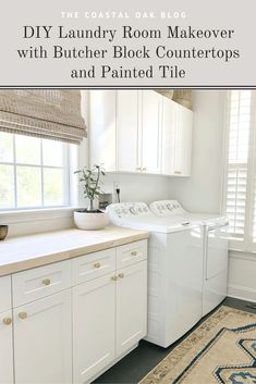 How to seal your new butcher block countertop with a natural finish. #laundryroom #butcherblock #butcherblockcountertop #countertop #diycounters #coastalhome #coastallaundryroom #vintageruglaundryroom #vintagerug #paintedtile #paintedfloors Kitchen Renovation Inspiration, Laundry Room Inspiration, Raw Wood Furniture, Interior Design Guide, Diy Kitchen Remodel, Butcher Block Countertops, Diy Home Decor Projects, Kitchen On A Budget, Floor Decor