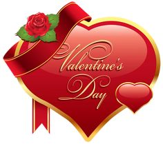 Valentines Day Heart with Rose PNG Clipart Picture