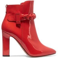 Valentino Patent-leather ankle boots (€520) ❤ liked on Polyvore featuring shoes, boots, ankle booties, tomato red, bootie boots, square toe boots, high heel boots, red zipper boots and zip ankle boots