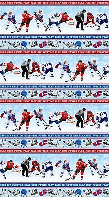Power Play Sports Hockey~Stripe~Cotton Fabric by Northcott