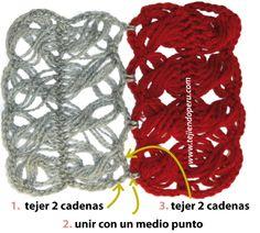 Instrucciones para unir las tiras tejidas en horquilla (hairpin lace)