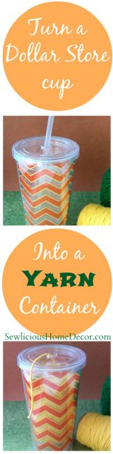 Turn a Dollar Store #Cup into a #Yarn Holder. SewliciousHomeDecor.com