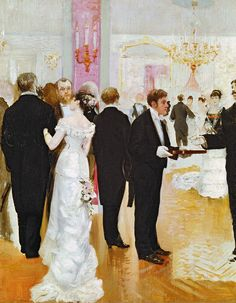 The Reception, 1900, by Jean Beraud (1849-1936).