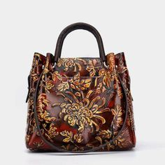 Brenice Women Vintage Genuine Leather Bags Printing Flowers Handbags National Style Women Bags is designer, see other popular bags on NewChic Mobile. Fashion Handbags, Tote Handbags, Purses And Handbags, Leather Handbags, Leather Bags, Luxury Handbags, Soft Leather, Cheap Handbags, Cheap Bags