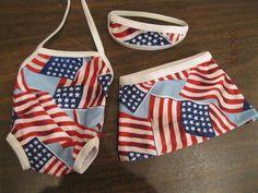 "USA Flag Bathing Suit Skirt Headband Fits American Girl Doll 18"" Clothes Stars"
