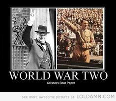 The World War Two…Churchill held his hand up and gave a V sign with his fingers which meant Britain would be ~ Victorious.    The Dictator of the Nazi's wanted to take over the world.   I purposely did not put his name here.