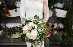 Blush white and green bridal bouquet with blush quicksand roses, white ranunculus, peonies, greenery. -Florals by Jenny -The Colony House -Priscilla Frey Photography
