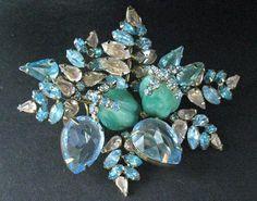 Signed Schreiner New York Vintage Turquiose Art Glass Rhinestone Floral  Brooch