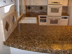 Granite tiles for counter tops are all the time nice with luxurious. It's a pure stone that thought of most … Green Kitchen Countertops, Granite Tile Countertops, Travertine Floors, Stone Backsplash, Countertop Options, Tile Design, Counter Tops, Image Search, Tiles