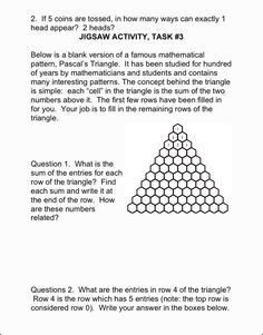 New today! Patterning Worksheet Pascal's Triangle