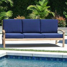 Outdoor Willow Creek Designs Huntington Teak Sofa with Sunbrella Cushion Canvas Tuscan - WC-10-5417
