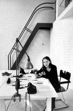 Belgian fashion designer Ann Demeulemeester in her Le Corbusier studio.