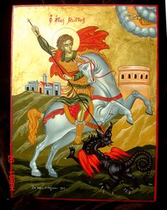 Patron Saint Of England, Saint George And The Dragon, Paint Icon, Sign Of The Cross, Byzantine Icons, Patron Saints, Orthodox Icons, Equine Art, Monster
