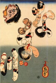 """Cats forming the charaters for catfish"" by  Utagawa Kuniyoshi (1798–1861) via Wikipaintings."