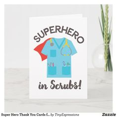 Shop Super Hero Thank You Cards for Doctors and Nurses created by TinyExpressions. Thank You Nurses, Happy Nurses Week, Diy Cards, Your Cards, National Doctors Day, 1st Responders, Jw Gifts, Appreciation Cards, Doodle Art Journals
