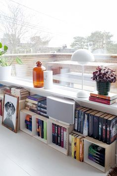 Books under the window Bookshelves, Bookcase, Apartment Living, Living Room, Room Interior, Interior Design, Yellow Houses, Wood Boxes, Decoration
