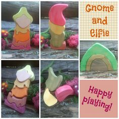 wooden stacker game for kids, gnome and elf in autumn colors