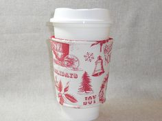 Lovely Red and Cream Christmas Toile Slip-On Coffee Cozy