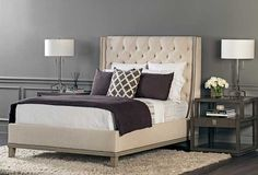 All In The Details: With classic button tufting and a modern platform style, this bed makes a dramatic yet elegant statement. Cleo Queen Bed, $2,669. Benjamin Moore Chelsea Gray