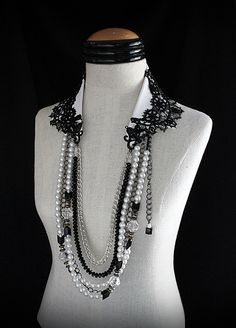 TUXEDO AND PEARLS Black and White Statement Collar Necklace