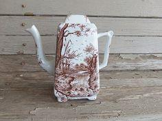 Antique brown transferware ironstone coffee pot