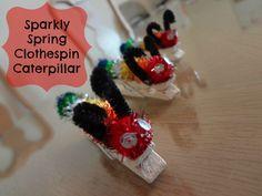 Sparkly Spring Clothespin Caterpillar
