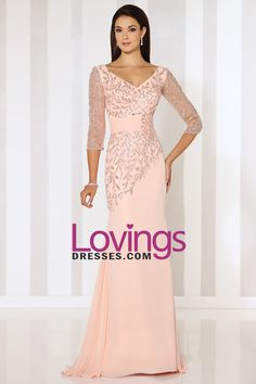 2016 Mother Of The Bride Dresses V Neck Chiffon With Beads 3/4 Length Sleeve
