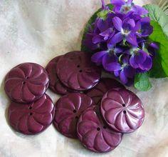 Vintage Buttons Art Deco large Purple Casein by ButtonBroker