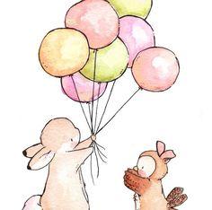 Children Art Print. VINTAGE Bunny and Owl. PRINT 8X10. Nursery Art Home Decor