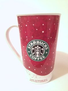 NEW 2007 Starbucks Christmas Holiday Tall Mug Red Mermaid siren Logo Ice Skating #Starbucks