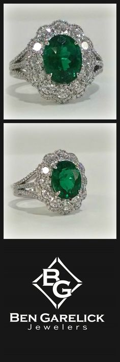 Emerald and Diamond Halo Ring from Simon G. and Ben Garelick- Perfect for the May Birthday Girl.