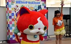 Jibanyan, a main character from the popular Yo-Kai Watch franchise, at an event in a Tokyo shopping centre