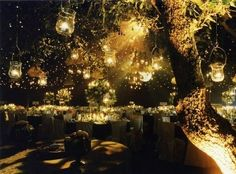 Outside Night Wedding...like the idea of hanging lanterns from the trees as lakeside manor
