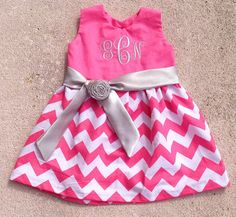 7d827ccb8ae1 Girls Chevron Dress Monogrammed Pink and White by SewChristi Chevron  Monogram, Girl Dress Patterns,