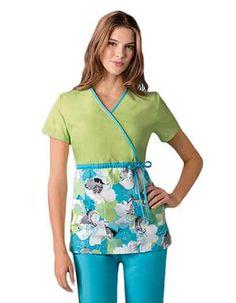 Empire waist mock wrap Cherokee Disney scrub top with cool color combination.