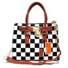 Michael Kors Outlet Hamilton Checkerboard Medium Black Totes -Michael Kors factory outlet online sale now up to 80% off!