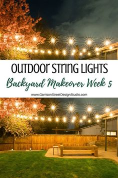 Add ambiance and character to a store bought pergola in your backyard by adding string lighting, lan Hanging Patio Lights, Outdoor Chandelier, String Lights Outdoor, Backyard Lighting, Pergola Lighting, Outdoor Lighting, Lighting Ideas, Modern Lighting, Backyard Trees