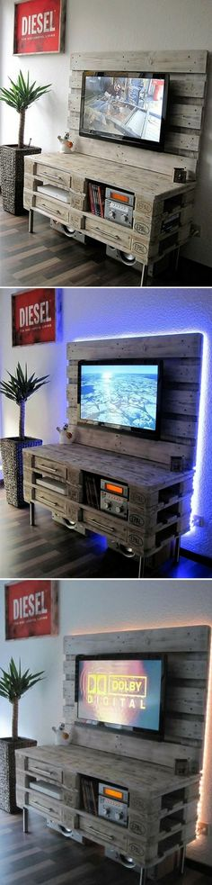 Transform your living room - Wood Decora la Maison Table Palette, Pallet Tv, Wall Mounted Tv, Pallet Furniture, Pallet Projects, Sweet Home, Indoor, Living Room, Wood