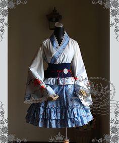 Fanplusfriend Lady's Sumoru Kingyo Series Wa Lolita Blue & White Kimono/Yukata 6pcs Set