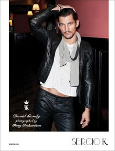 Sergio's Man–Terry Richardson photographs David Gandy for Sergio K's fall 2011 campaign. Deliciously inappropriate, David takes Sergio K's current lineup from… 1950s Jacket Mens, Cargo Jacket Mens, Green Cargo Jacket, Grey Bomber Jacket, Jacket Jeans, David Gandy, Leather Fashion, Leather Men, Leather Pants