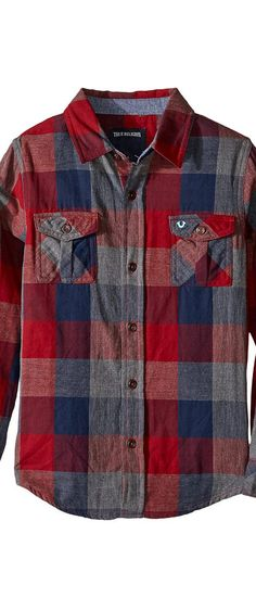 True Religion Kids Woven Plaid Workwear Shirt (Big Kids) (Midnight) Boy's Clothing - True Religion Kids, Woven Plaid Workwear Shirt (Big Kids), TR946LW09-400, Apparel Top General, Top, Top, Apparel, Clothes Clothing, Gift - Outfit Ideas And Street Style 2017