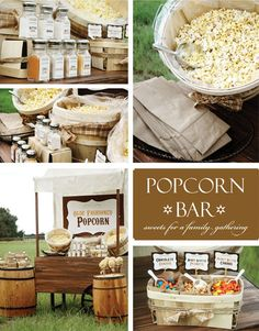 Popcorn bar perfect for a party.  I love this idea for a movie themed birthday.