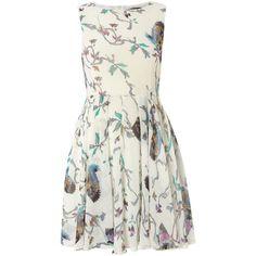Ax paris bird print chiffon dress ($24) found on Polyvore