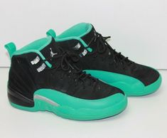 eBay  Sponsored Nike Air Jordan 12 XII Retro (Youth 6Y) Black Hyper Jade cbdb1e698
