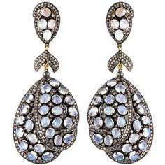 Karats & Carats Moonstone and Diamond Drop Earrings