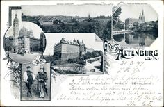 Ansichtskarte / Postkarte Altenburg Thüringen, Teich, Schloss, Rathaus, Thüringer Trachten #Altenburg