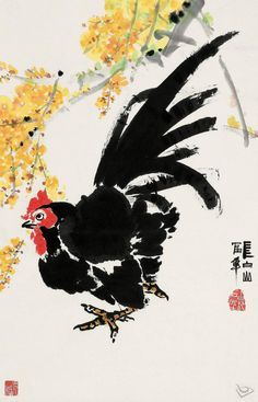 Watercolor Art, Art Painting, Chinese Painting, Traditional Paintings, Art, Rooster Painting, Nature Paintings, Bird Art, Chicken Art