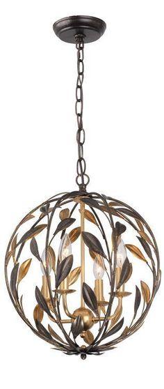 Crystorama 504-EB-GA Broche 4 Light Bronze Sphere Mini Chandelier