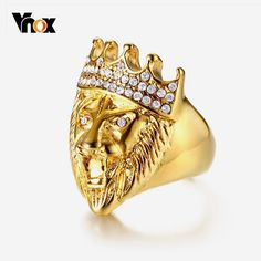9cd87ed54 Punk Men's Lion Head Ring Gold Tone Stainless Steel Rings for Man Bling  Rhinestone Hiphop Male