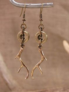 SureShot Jewelry - Bullet Casing and Deer Antler Charm Antique Gold/Brass Dangle Earrings